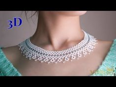 Beautiful and Delicate Bugle Bead Necklace in White and Blue Color. 3D Beading Tutorial - YouTube