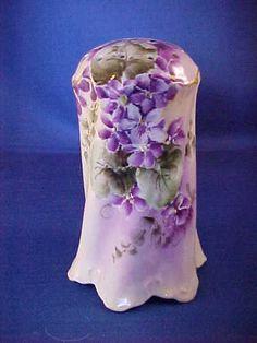 Porcelain Violet Decor Hat Pin Holder Germany