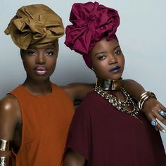 """""""Sisterhood is important. It can change the world."""" @findingpaola • New solids on the site! #fanmdjanm #Headwrap #Headwraps #fanmdjanmheadwraps #liveboldly • @findingpaola @kristiatolode x @islandboiphotography"""