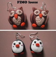 fimo polymer clay orecchini earrings owl