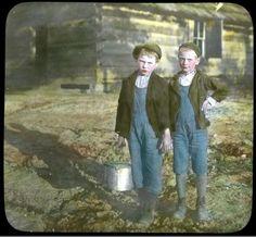 """Mountain Boys on Way to School""- Elmer L. Foote Lantern Slide Collection, ca. 1900-1915 (Lexington Public Library)"