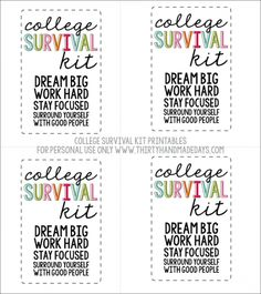 College Survival Kit Printables for personal use only www.thirtyhandmadedays.com