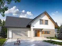 Projekt domu z poddaszem Dora 2 o pow. 142,94 m2 z obszernym garażem, z dachem dwuspadowym, z tarasem, sprawdź! Rio 2, Bungalow, House Plans, Ikea, Garage Doors, Sweet Home, Exterior, Architecture, House Styles