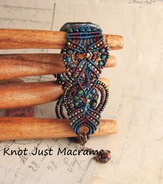Raku Colors Beaded Micro Macrame Bracelet Ceramic Swirls Focal