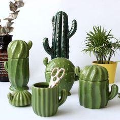Europe style ceramic cactus storage box creative Jewelry box Sugar Bowl Tea Bag Storage Box Canister Gift for Girl Lady Cactus House Plants, Cactus Decor, Cactus Cactus, Cacti, Clay Projects, Clay Crafts, Ceramic Pottery, Ceramic Art, Cactus Ceramic