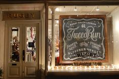 Window Display at the Rugby storefront - photo credit to yourmarketingbff.com Chalkboard Typography, Chalk Lettering, Framed Chalkboard, Lettering Design, Chalkboard Writing, Chalkboard Designs, Chalkboard Ideas, Chalkboard Border, Vintage Chalkboard