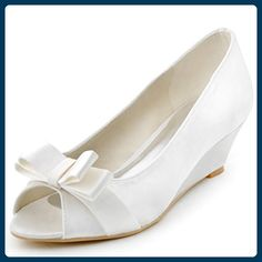 b3e711ef05 online shopping for ElegantPark Women Peep Toe Pumps Bows Mid Heel Wedges Satin  Wedding Bridal Shoes from top store. See new offer for ElegantPark Women ...