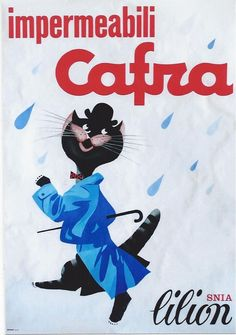 Original vintage poster CAFRA ITALIAN RAINCOAT FASHION CAT #Modernism
