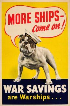 More Ships Come On WWII UK Bulldog 1940s - original vintage World War Two propaganda poster listed on AntikBar.co.uk