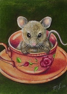 Items similar to Tea Cup Mouse Miniature Art by Melody Lea Lamb ACEO Print on Etsy Maus Illustration, Illustrations, Mouse Paint, Art Fantaisiste, Art Mignon, Mouse Pictures, Art Carte, Hamster, Cute Mouse