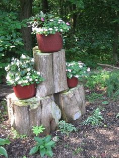 use old tree trunks to serve as pedestals for container plants.