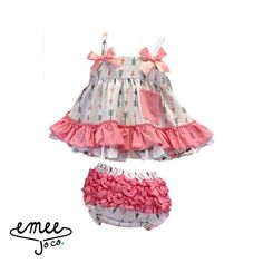 Our two piece arrows dress set is absolutely adorable! Featuring a pink satin bow on each strap, a pink pocket, and ruffled bloomers, this complete outfit is pe