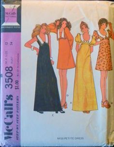 Vintage 1970s Empire Waist Mini Or Maxi Dress-Bust 34-McCalls 3508 Factory Folded. $6.00, via Etsy.