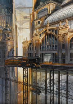 Metro station du Nord by Didier Graffet - Metro station du Nord by Didier Graffet - Ville Steampunk, Steampunk City, Steampunk Artwork, Sci Fi Fantasy, Fantasy World, Fantasy Landscape, Landscape Art, Fantasy Illustration, Steampunk Illustration