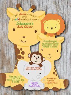Giraffe Baby Shower Invitation Elephant Baby by newyorkinvitations