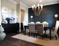 Commanding a Presence: Dark Accent Walls that Make a Statement : Accent Walls Dark Dining Room Dining Room Storage, Dining Room Wall Decor, Dining Room Design, Dining Rooms, Dining Room Paneling, Dining Area, Dining Table, Dark Accent Walls, Accent Walls In Living Room