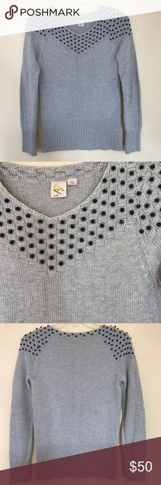 """Anthropology yellow bird grey beaded sweater Anthropology yellow bird grey beaded sweater gently used without flaws.                                                                              Armpit to armpit 15.5"""".                                                           Length 24"""" Anthropologie Sweaters Crew & Scoop Necks"""
