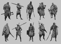 Artstation - knight thumbnails, daniel henningsson concept a Character Poses, Character Sketches, Character Design Animation, Fantasy Character Design, Character Design References, Character Design Inspiration, Character Illustration, Character Concept, Character Art