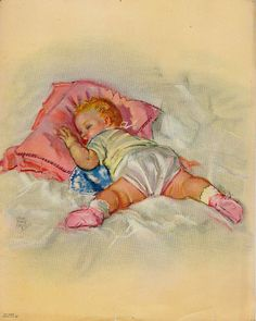 Vintage 1950s Baby Girl Lithograph