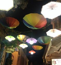Colorful street..umbrellas! -cunda island-