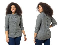 Asymmetrical Cowl Neck Sweater In Grey by Lima, Available in sizes 0X-5X