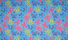Jersey Fabric Cotton Print Butterfly Grand Bleu | Empress Mills Ltd.