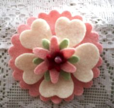 Felted wool flower pin.  I like the idea of making a pin so you can take on or off a pair of mittens!