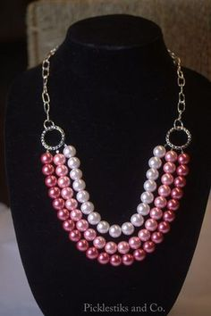 Necklace Pink Glass Pearls