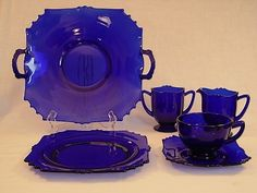 New Martinsville Glass Patterns Cobalt Glass, Cobalt Blue, Blue Dishes, Glass Tea Cups, Blue Things, Blue And White China, Himmelblau, Duck Egg Blue, Glass Collection