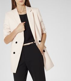 Womens Champagne Double Breasted Jacket - Reiss Skorpios