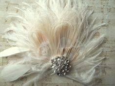 Wedding Fascinator, Feather Hair Clip, Wedding Hair Accessories, Bridal Hair Fascinator,Vintage Style Fascinator, Great Gatsby, Bridal Comb, by kathyjohnson3 on Etsy