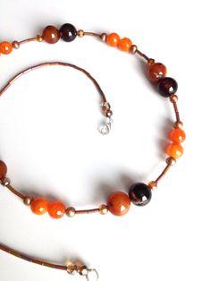 Long Brown and Orange Necklace - Long Orange Necklace - Hipster...