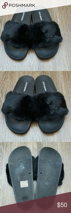 Steve Madden black softey fur slides Steve Madden black softey fur slide sandles size 8 only used as floor model never worn outside just tried on in brand new condition Pamper your feet with SOFTEY, our playfully plush twist on the spa slide!  Perfect footwear for taking leisurely strolls around the neighborhood. Summer and spring weather they go with just about everything  Faux fur upper Man-made lining Man-made sole 1 inch platform Steve Madden Shoes Sandals