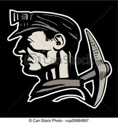 Vector - coal miner - stock illustration, royalty free illustrations, stock clip art icon, stock clipart icons, logo, line art, EPS picture, pictures, graphic, graphics, drawing, drawings, vector image, artwork, EPS vector art