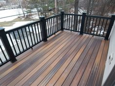 Second Floor Deck with Screened in Porch Design and Stairs - Decomagz Screened Porch Designs, Screened In Porch, Front Porch, Porch Kits, Building A Porch, Deck Railings, Black Railing, Deck Stairs, Diy Deck