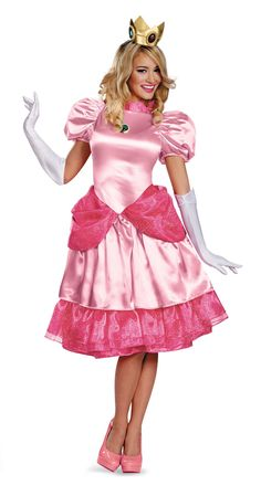 super mario bros adult deluxe princess peach costume from costumeexpresscom - Fraggle Rock Halloween Costumes