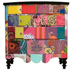 Decopatched dresser from Bryoni Porter. Very nice! Very bohemian chic. This would also be good in a modern decor bedroom as a statement piece.