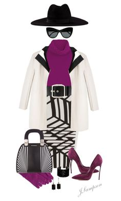 """""""Black & White with a Pop Of Color"""" by shadedlady ❤ liked on Polyvore featuring Temperley London, Roland Mouret, Casadei, Filù Hats, Givenchy, Narciso Rodriguez, Swarovski, Uniqlo, Charming Life and Emporio Armani"""