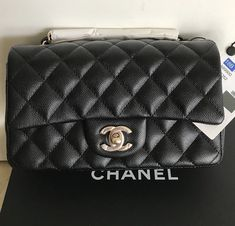 f1a388a1fca8ff 100% Authentic Chanel Mini Rectangular Black Caviar Classic Flap Bag SHW  18B Chanel Mini Rectangular