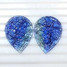 90.09 Cts Natural Top BI Color Tanzanite Loose Gemstone Pair Hand Made Carving