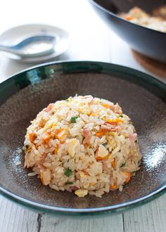 Japanese fried rice made with store-bought fried rice seasoning. All you need is rice, egg and chopped vegetables. If you want, add meat too. The flavour of the Japanese fried rice is similar to Chinese fried rice but a bit lighter and less oily. Japanese Fried Rice, Japanese Dishes, Japanese Food, Chinese Food, Korean Food, Easy Japanese Recipes, Asian Recipes, Ethnic Recipes, Asian Foods