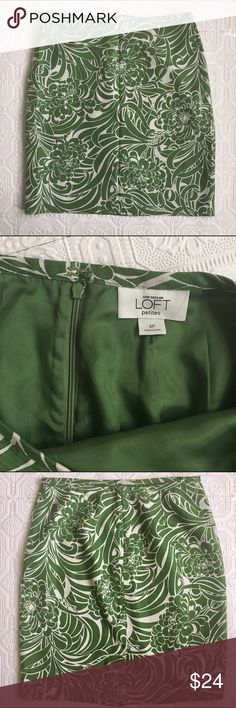 Loft Silk Blend Pencil Skirt This Ann Taylor Loft skirt has a green floral pattern on an ivory or cream background. 75% silk 25% cotton. Waist 14 in across when laid flat. Length is 19.25 in. Fully lined. Excellent condition. Back slit is still stitched closed, so I'm not sure it's ever actually been worn! Size is 4P (petite). LOFT Skirts Pencil