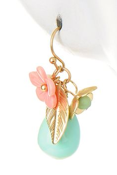 Turquoise Flower Drop Earrings at Modeets