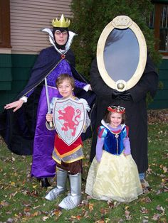 A family in Disney costumes - Evil Queen, Magic Mirror, the Prince (in Narnia costume) and Snow White. photo by djweso