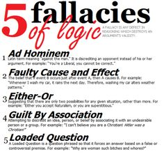 Logical fallacies: important parts of argument. Recognize when a source is using one to help you counter argue their claim. Ad Hominem, Writing Skills, Writing Tips, Writing Prompts, Academic Writing, Propaganda Techniques, Logic And Critical Thinking, Logical Fallacies, Ap Language