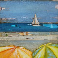 Items similar to ART PRINT or CANVAS sailboat umbrellas beach coastal wall home decor summer gift vacation retirement cheerful bright painting, All Sizes on Etsy Mixed Media Painting, Mixed Media Art, Umbrella Painting, Sunset Art, Romance, Panel Art, Beach Art, Sailboat, Art For Sale
