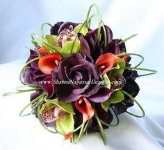Deep purple callas bronze callas purple roses  Green Cymbidium orchids,bear grass loops.