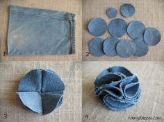 Best 12 This listing is for 6 upcycled denim flowers. Choose from 2 and inches, 3 inches, or 4 – SkillOfKing. Denim Flowers, Cloth Flowers, Felt Flowers, Fabric Flowers, Fabric Butterfly, Jean Crafts, Denim Crafts, Artisanats Denim, Fabric Flower Tutorial