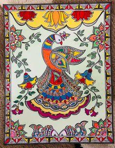 Indian Traditional Paintings, Indian Art Paintings, Madhubani Art, Madhubani Painting, Kalamkari Painting, Peacock Painting, Cool Art Drawings, Painted Doors, Mandala Design