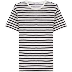 T by Alexander Wang Striped T-Shirt (2.795 CZK) ❤ liked on Polyvore featuring tops, t-shirts, stripes, loose white tee, loose white t shirt, stripe tee, loose fit t shirts and round neck t shirt